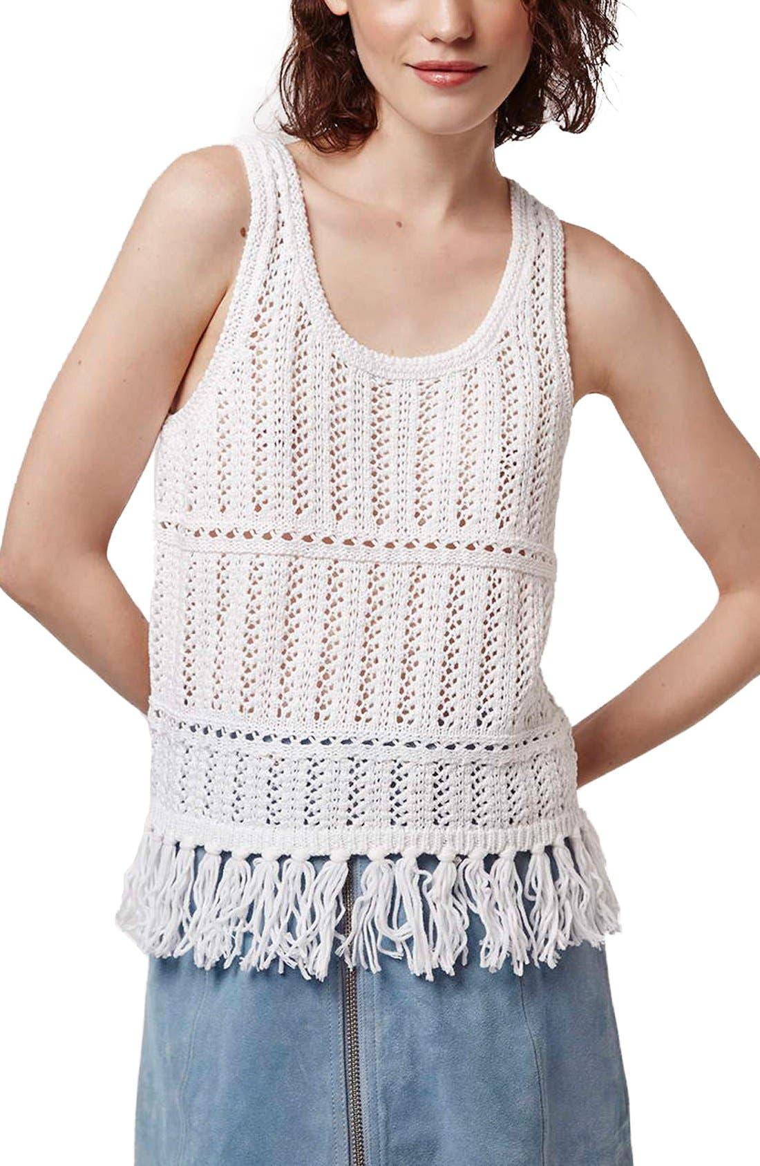 Alternate Image 1 Selected - Topshop Fringe Crochet Tank