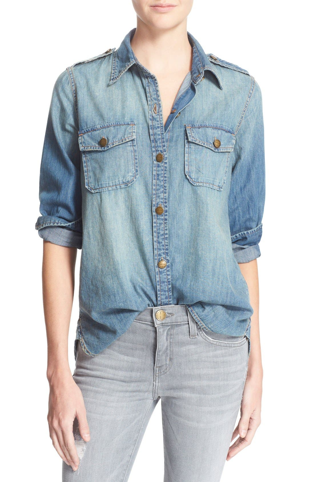 'The Perfect' Button Front Denim Shirt,                             Main thumbnail 1, color,                             Miner