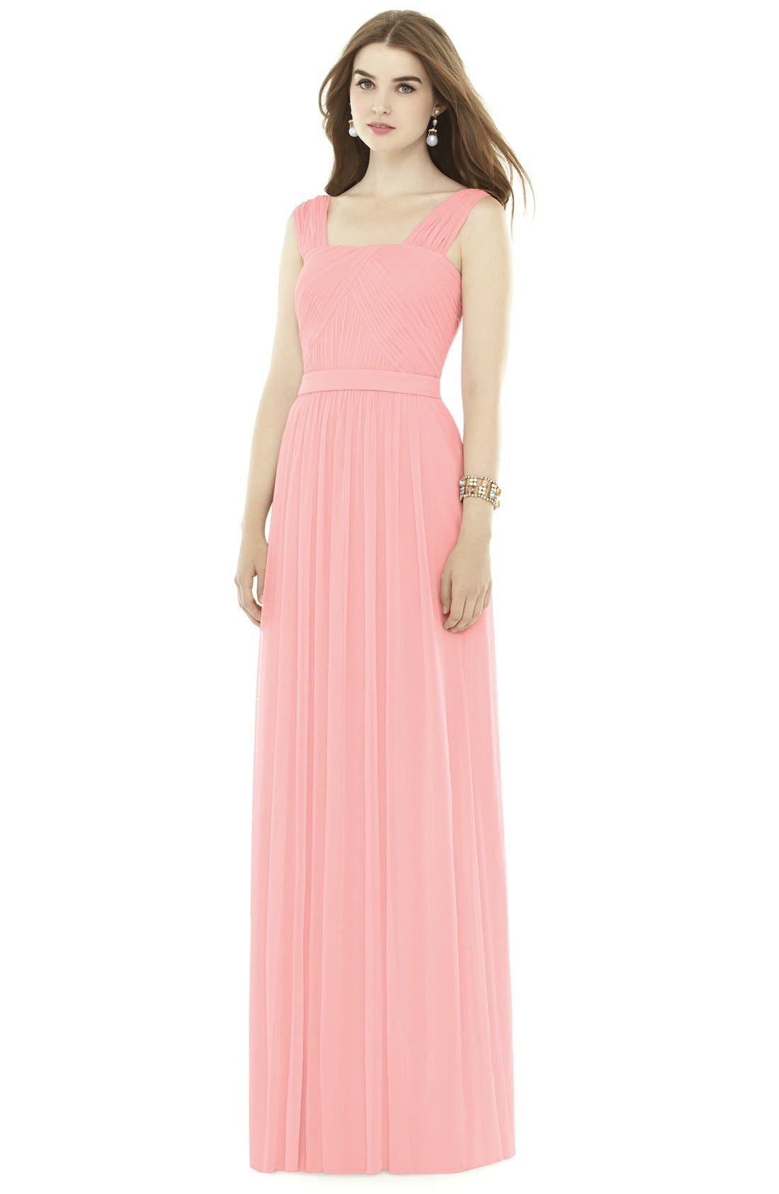 Pleat Chiffon Knit A-Line Gown with Belt,                             Main thumbnail 1, color,                             Apricot