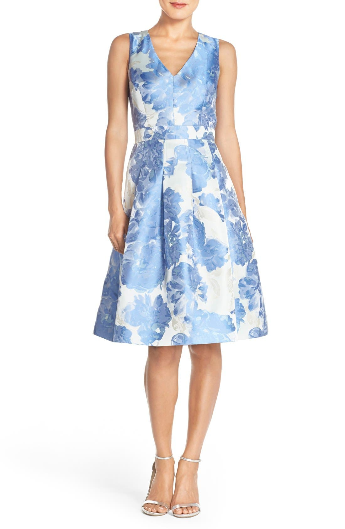 Alternate Image 1 Selected - Eliza J Floral Jacquard Fit & Flare Dress