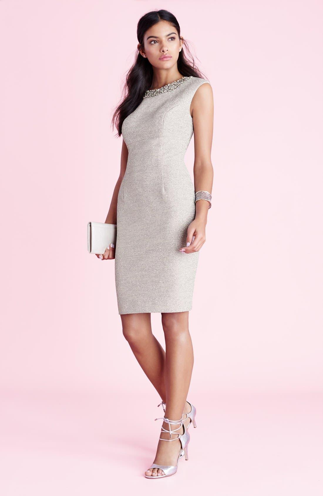 Alternate Image 6  - Eliza J Embellished Sparkle Knit Sheath Dress (Regular & Petite)