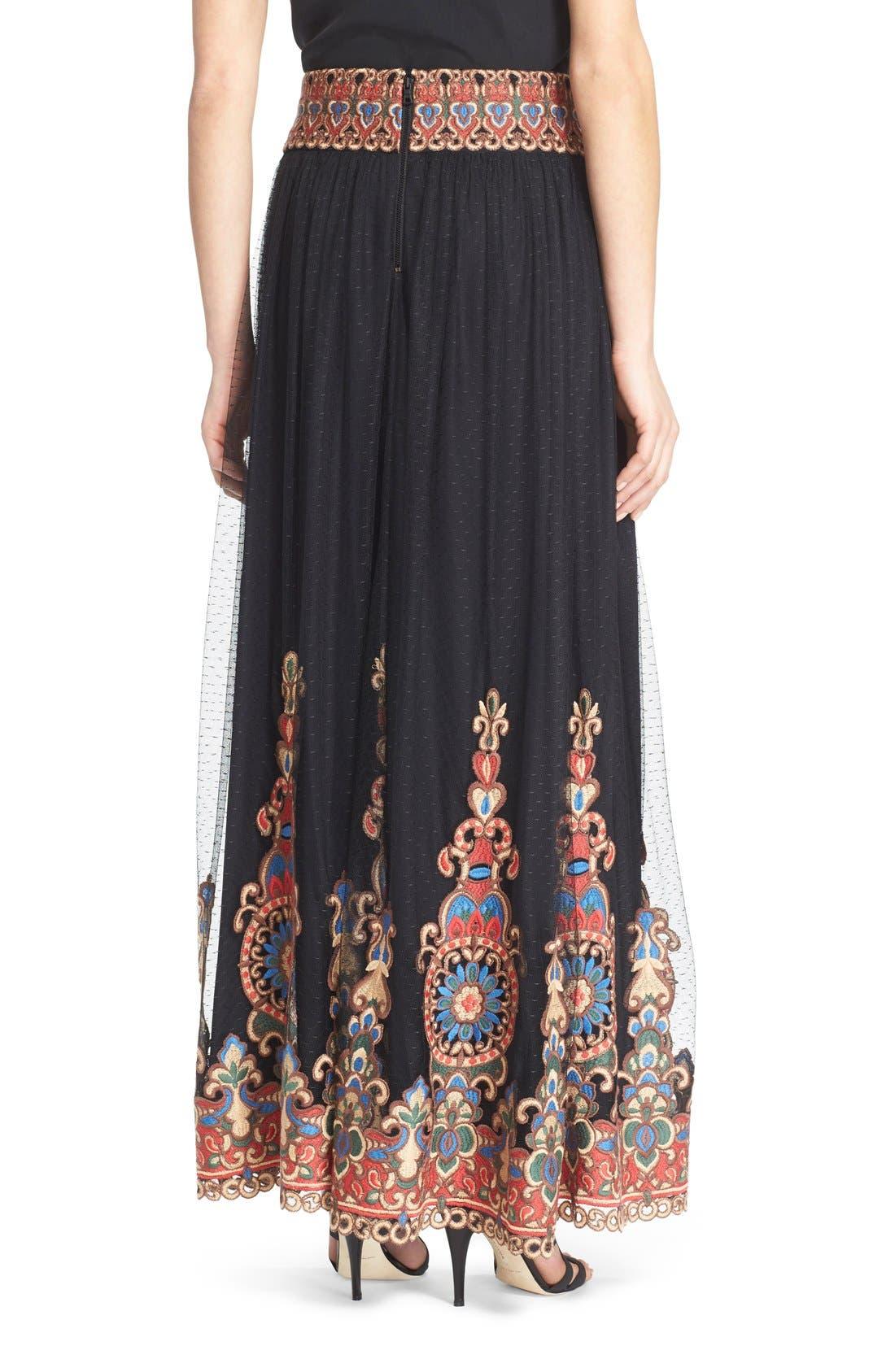 Alternate Image 2  - Alice + Olivia 'Savanna' Embroidered Maxi Skirt