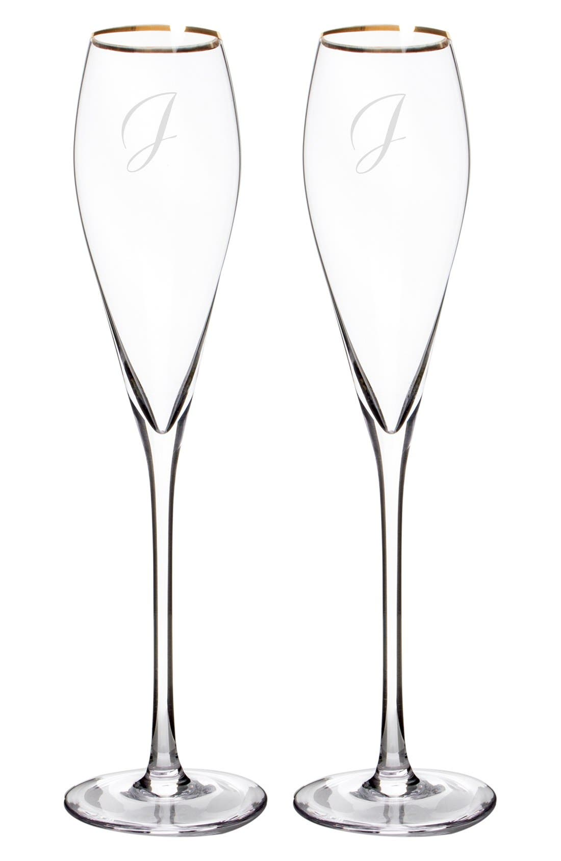 Cathy's Concepts Personalized Gold Rim Champagne Flutes (Set of 2)