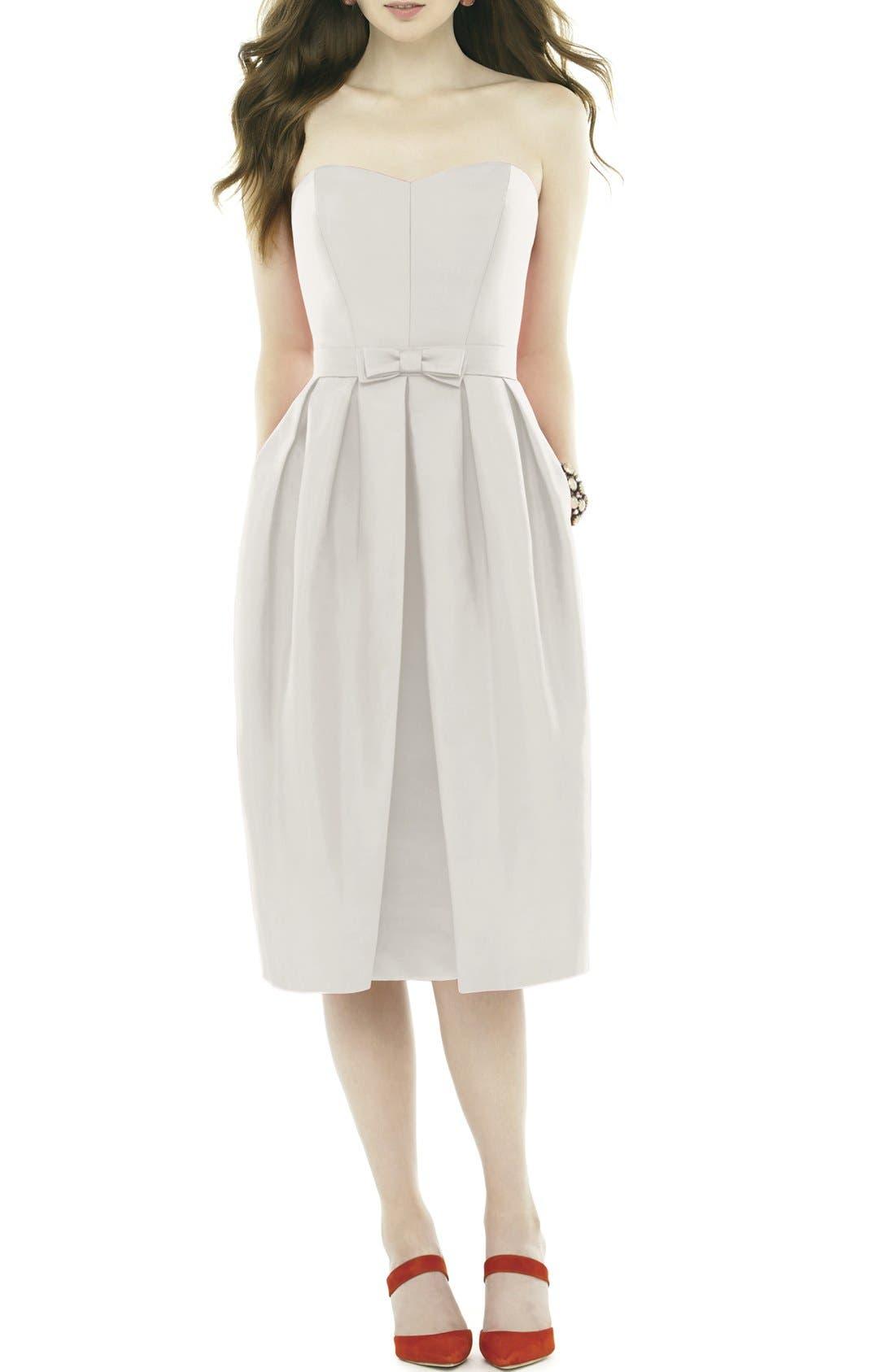 Strapless Peau de Soie Midi Dress with Bow Belt,                             Main thumbnail 1, color,                             Snow White