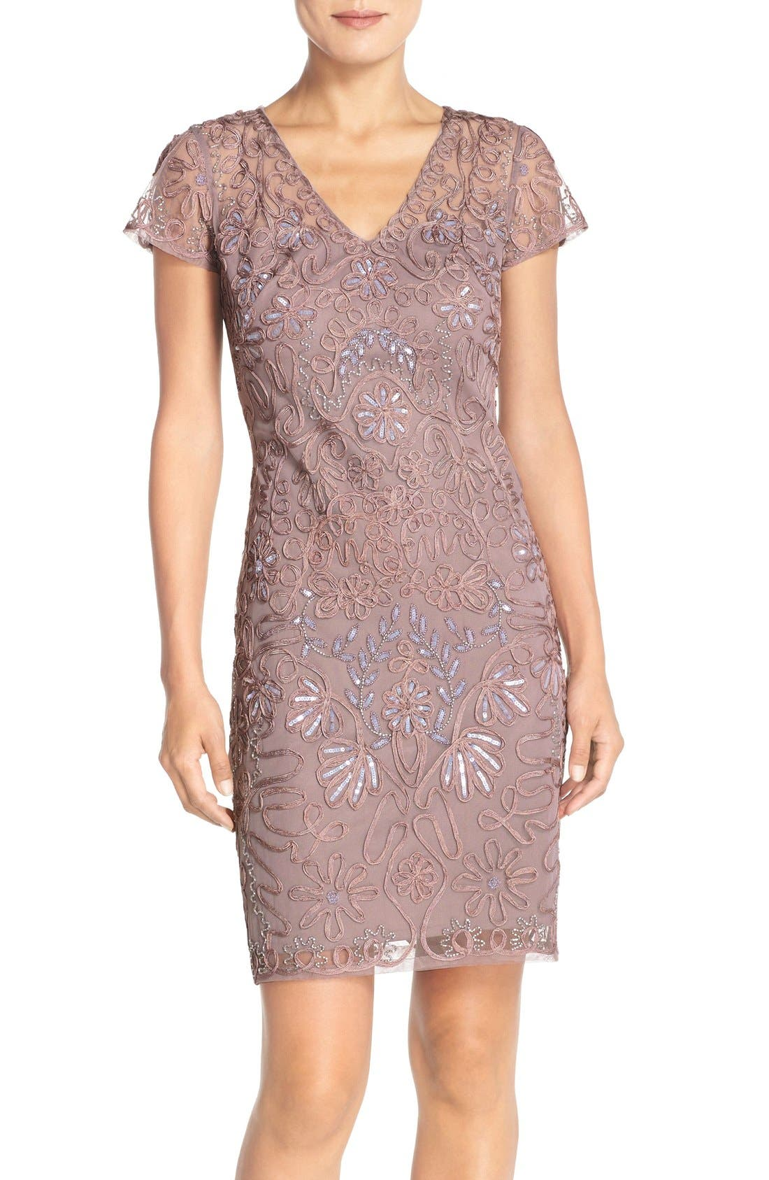 Embellished Soutache Sheath Dress,                         Main,                         color, Dusty Lavender