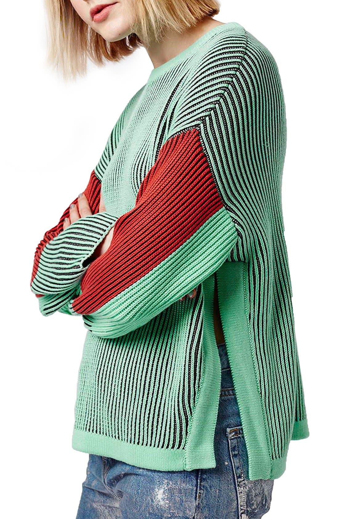 Main Image - Topshop Colorblock Crewneck Sweater