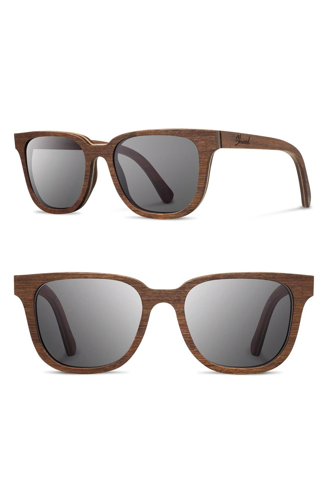 'Prescott' 52mm Wood Sunglasses,                             Main thumbnail 1, color,                             Walnut/ Grey