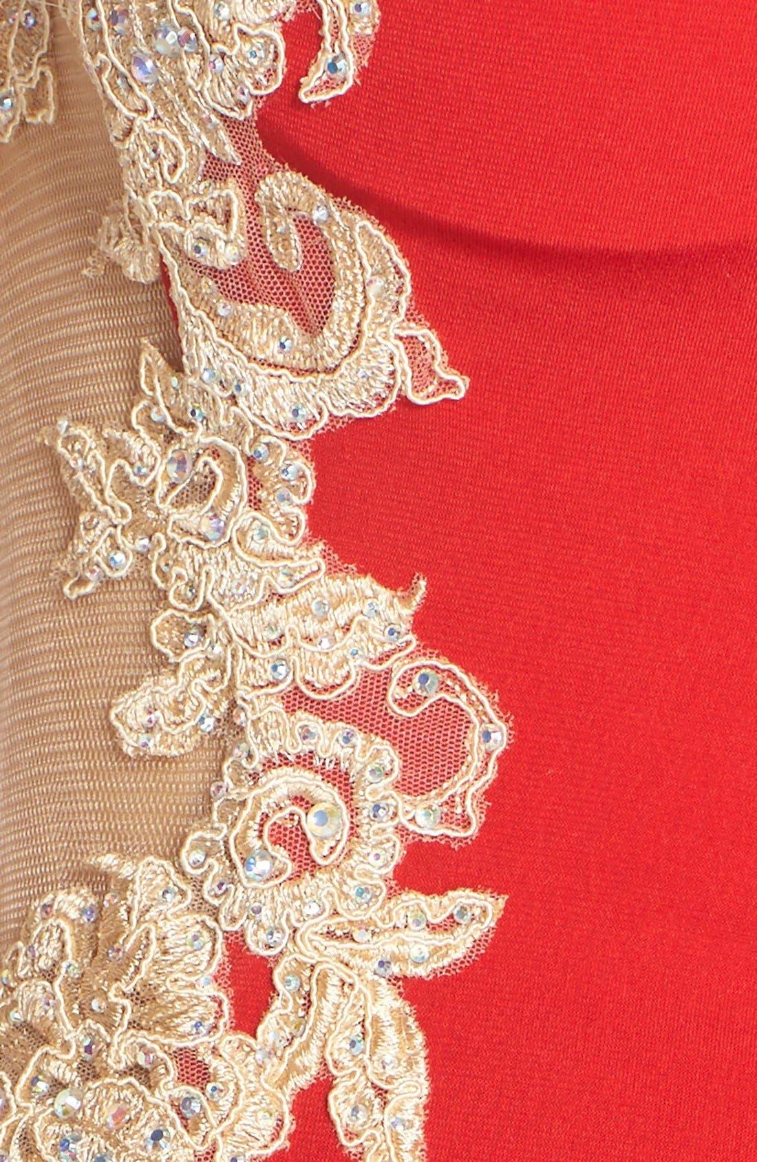 Alternate Image 5  - JVN by Jovani Embellished Sheer Back Gown