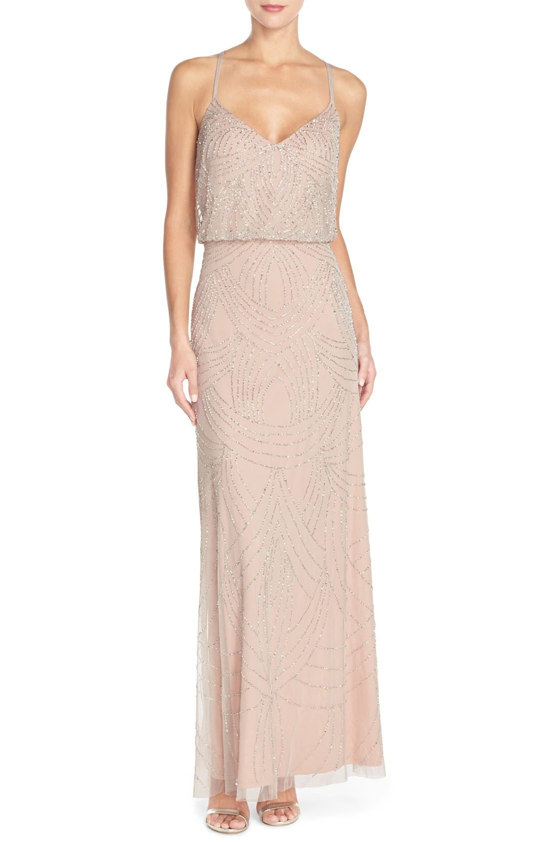 Beaded Chiffon Blouson Gown,                         Main,                         color, Silver/ Nude