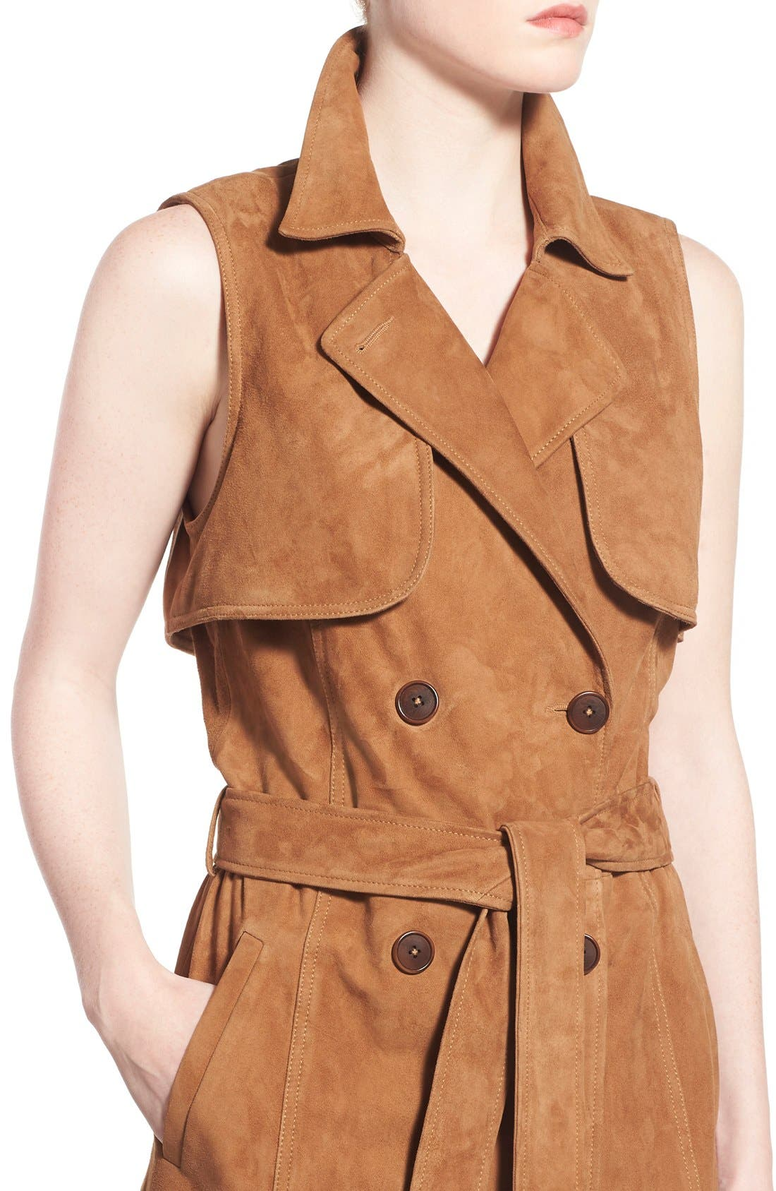 Alternate Image 4  - Olivia Palermo + Chelsea28 Sleeveless Suede Trench Dress