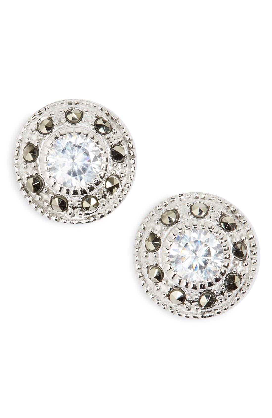 Pavé Stud Earrings,                         Main,                         color, Marcasite