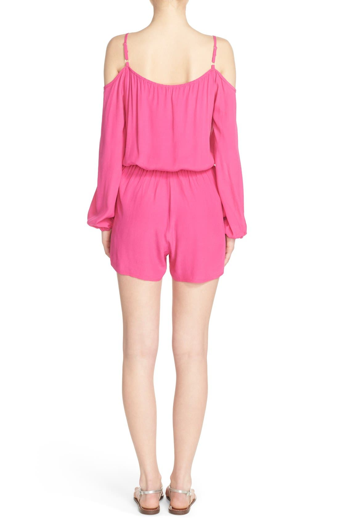 Cold Shoulder Romper,                             Alternate thumbnail 2, color,                             Pink