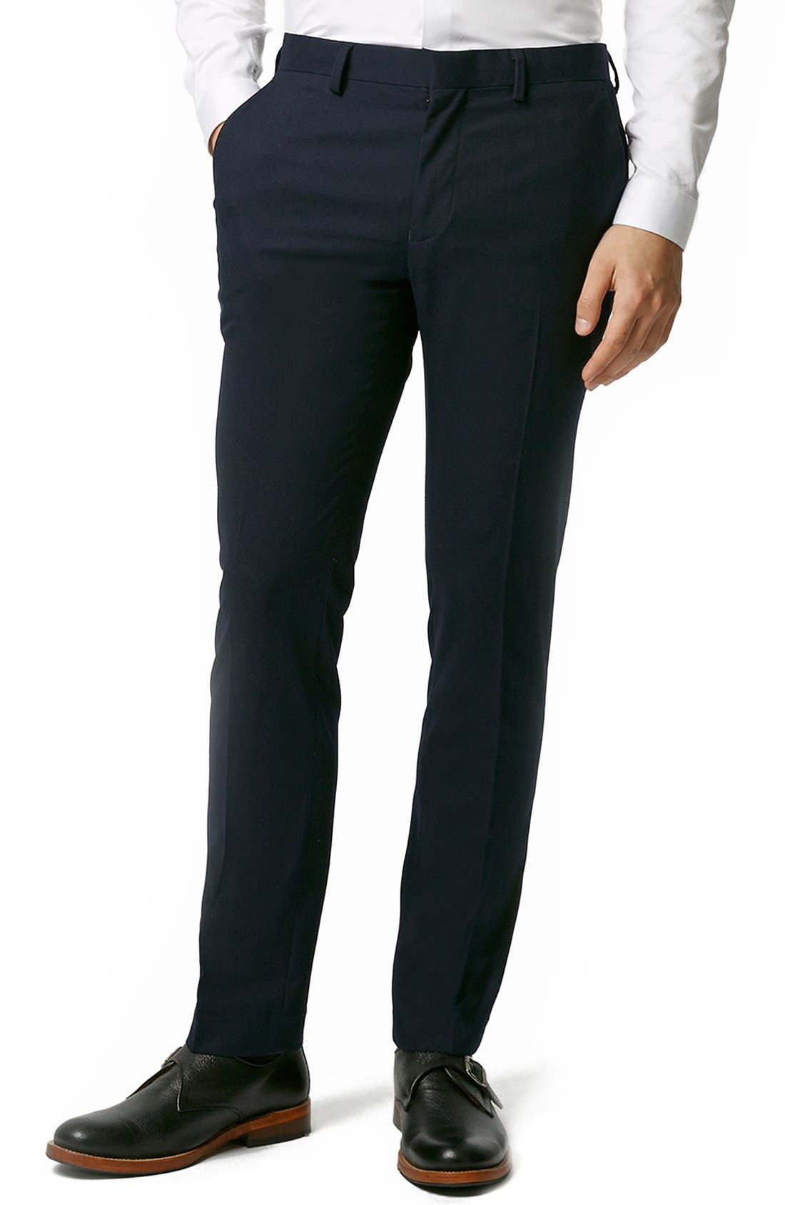 Topman Skinny Fit Navy Blue Suit Trousers