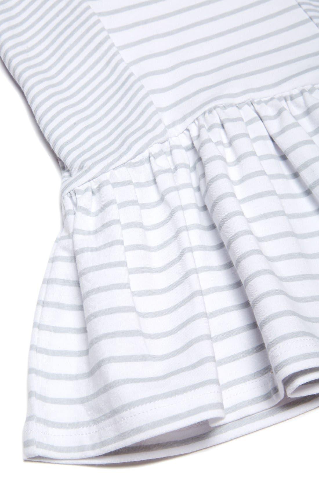 Stripe Sleeveless Dress,                             Alternate thumbnail 3, color,                             White/ Grey