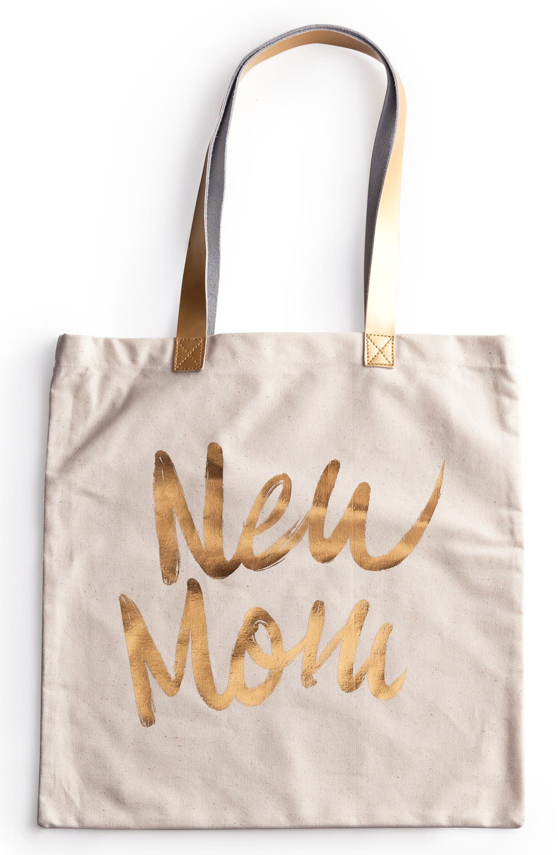 'New Mom' Canvas Tote,                             Main thumbnail 1, color,                             White/ Gold