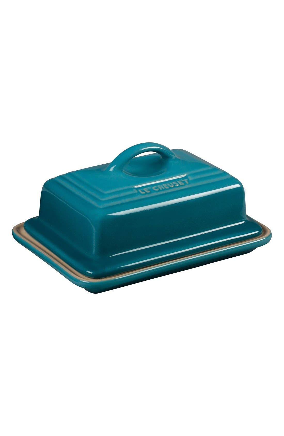 'Heritage' Stoneware Butter Dish & Lid,                         Main,                         color, Caribbean
