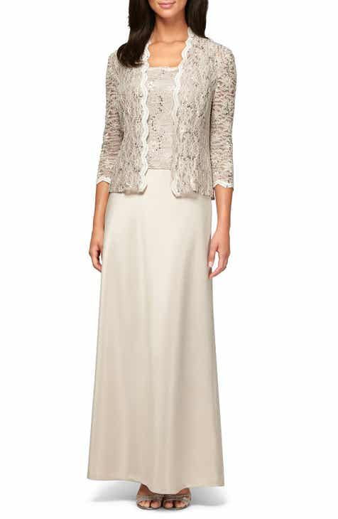 52be74671894 Alex Evenings Sequin Lace & Satin Gown with Jacket (Regular & Petite)