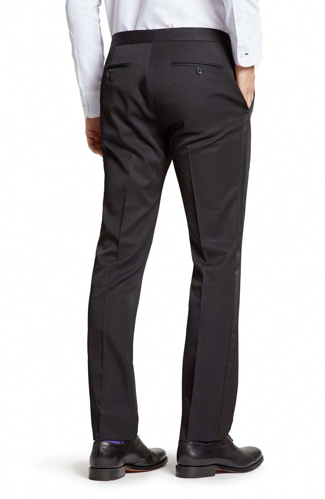 Alternate Image 2  - Bonobos Flat Front Wool Tuxedo Trousers