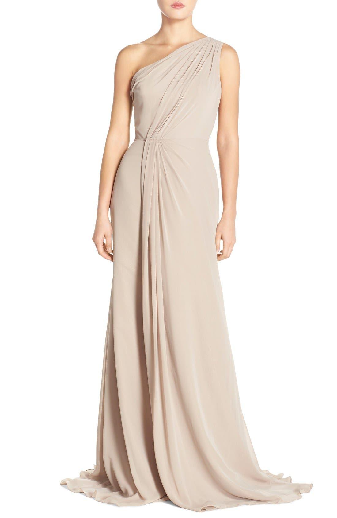 Main Image - Monique Lhuillier Bridesmaids One-Shoulder Chiffon Gown