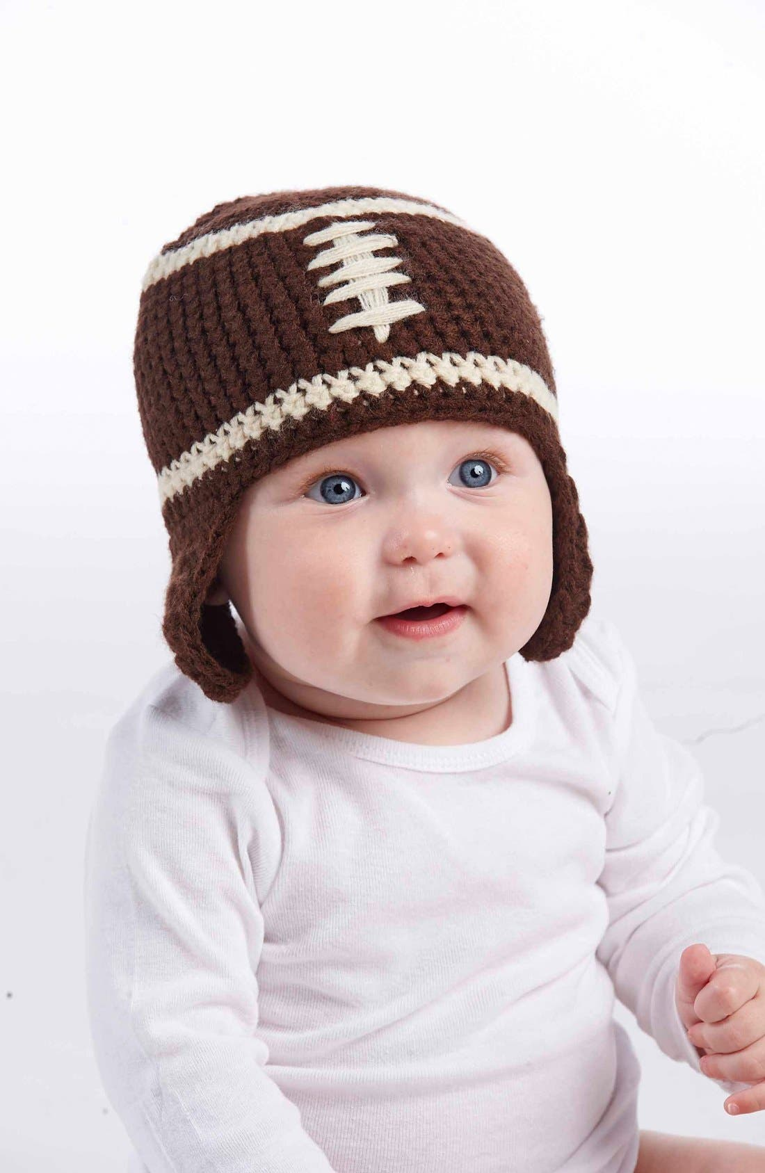 Knit Football Hat,                         Main,                         color, Brown