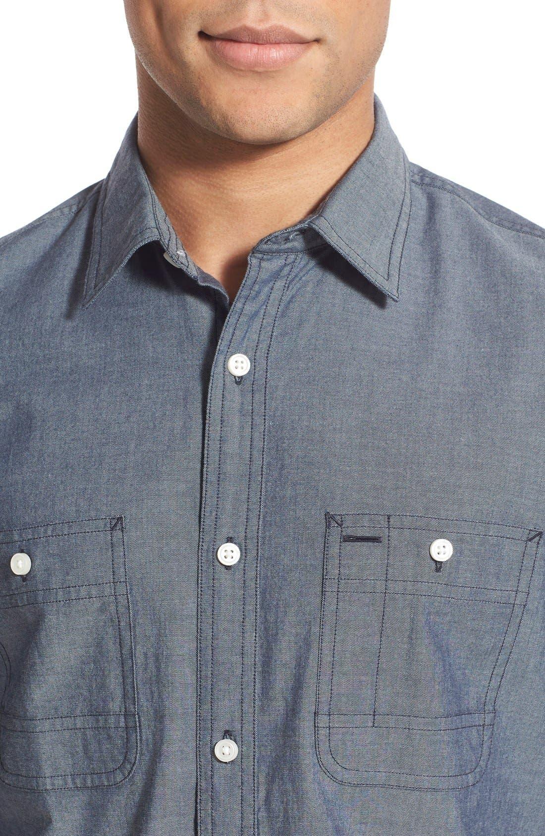 'Workwear' Trim Fit Chambray Sport Shirt,                             Alternate thumbnail 7, color,                             Light Blue