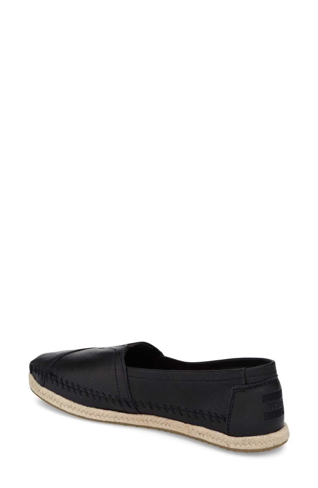 Alternate Image 2  - TOMS 'Classic - Leather' Espadrille Slip-On (Women)