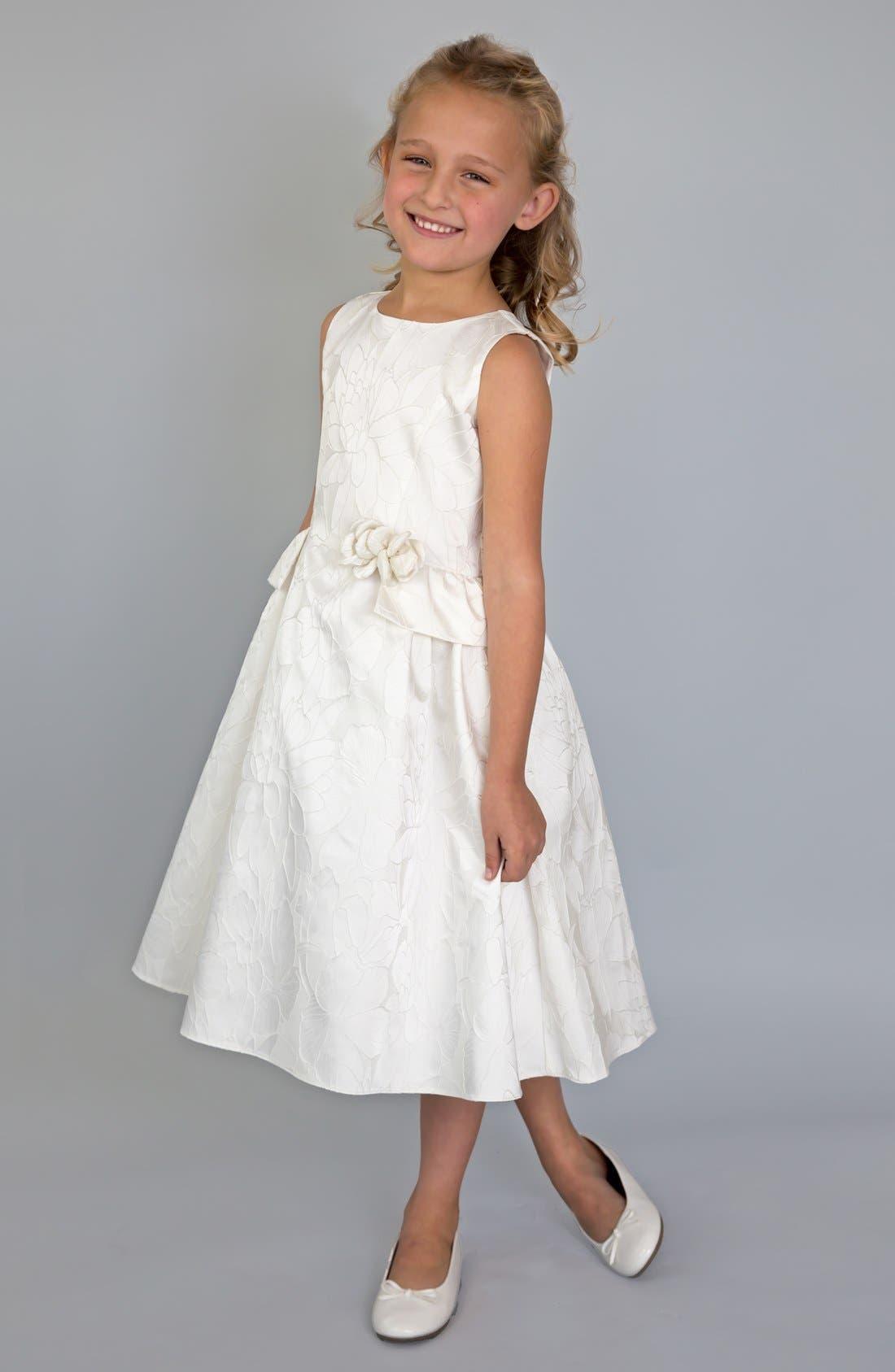 Peplum Brocade Dress,                         Main,                         color, Ivory