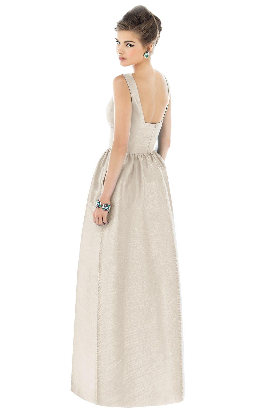 Square Neck Dupioni Full Length Dress,                             Alternate thumbnail 2, color,                             Champagne