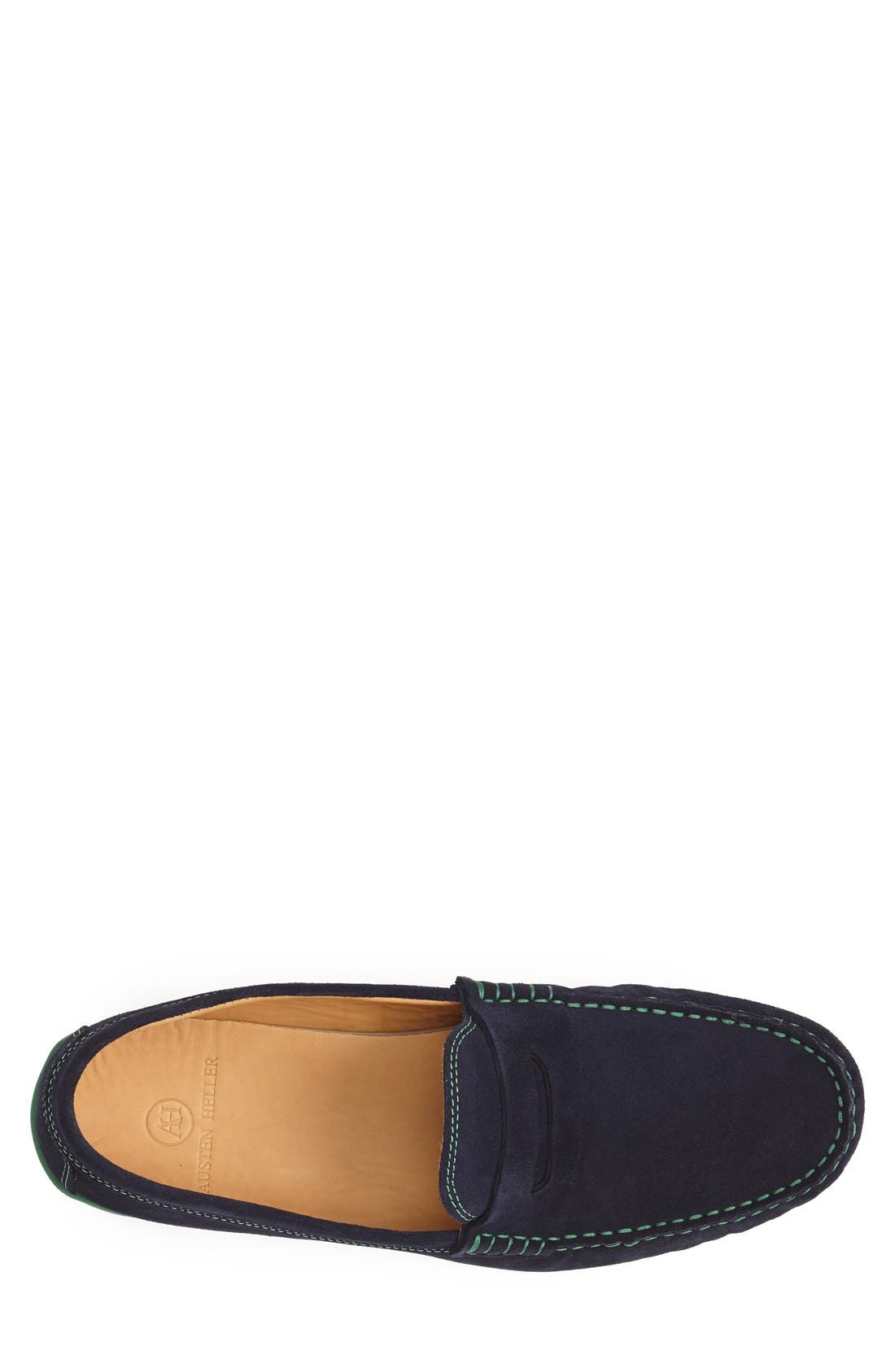 'Chathams' Penny Loafer,                             Alternate thumbnail 3, color,                             Navy Suede/ Green