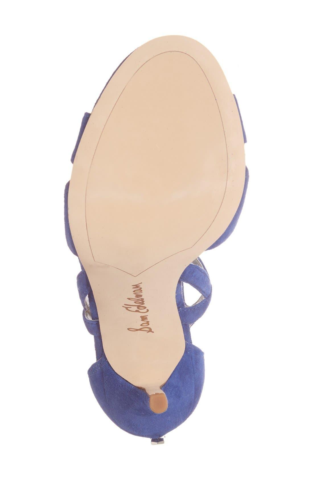 'Azela' Tassel Lace-Up Sandal,                             Alternate thumbnail 4, color,                             Sailor Blue Suede
