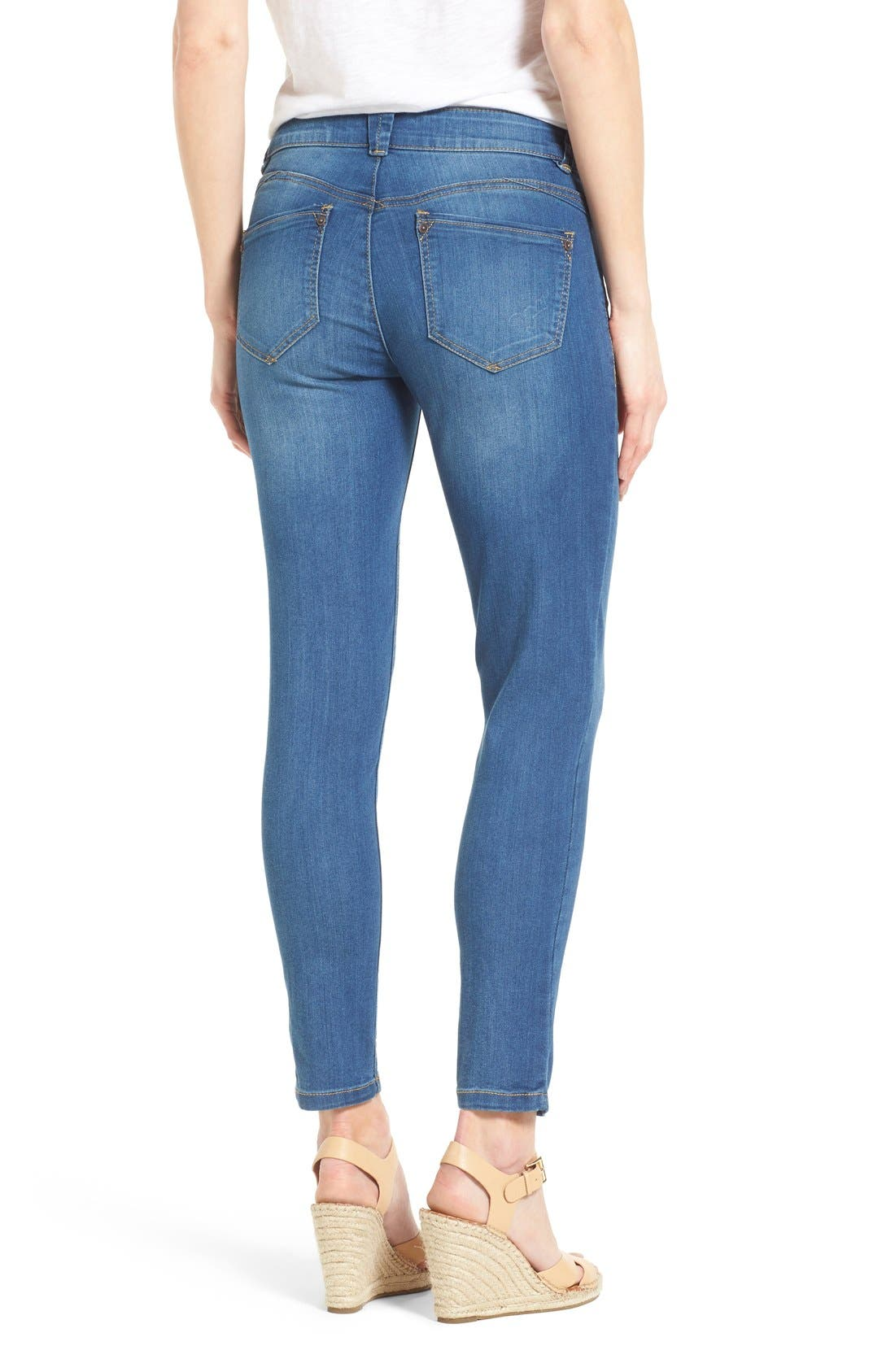 'Ab-solution' Stretch Ankle Skinny Jeans,                             Alternate thumbnail 2, color,                             Blue