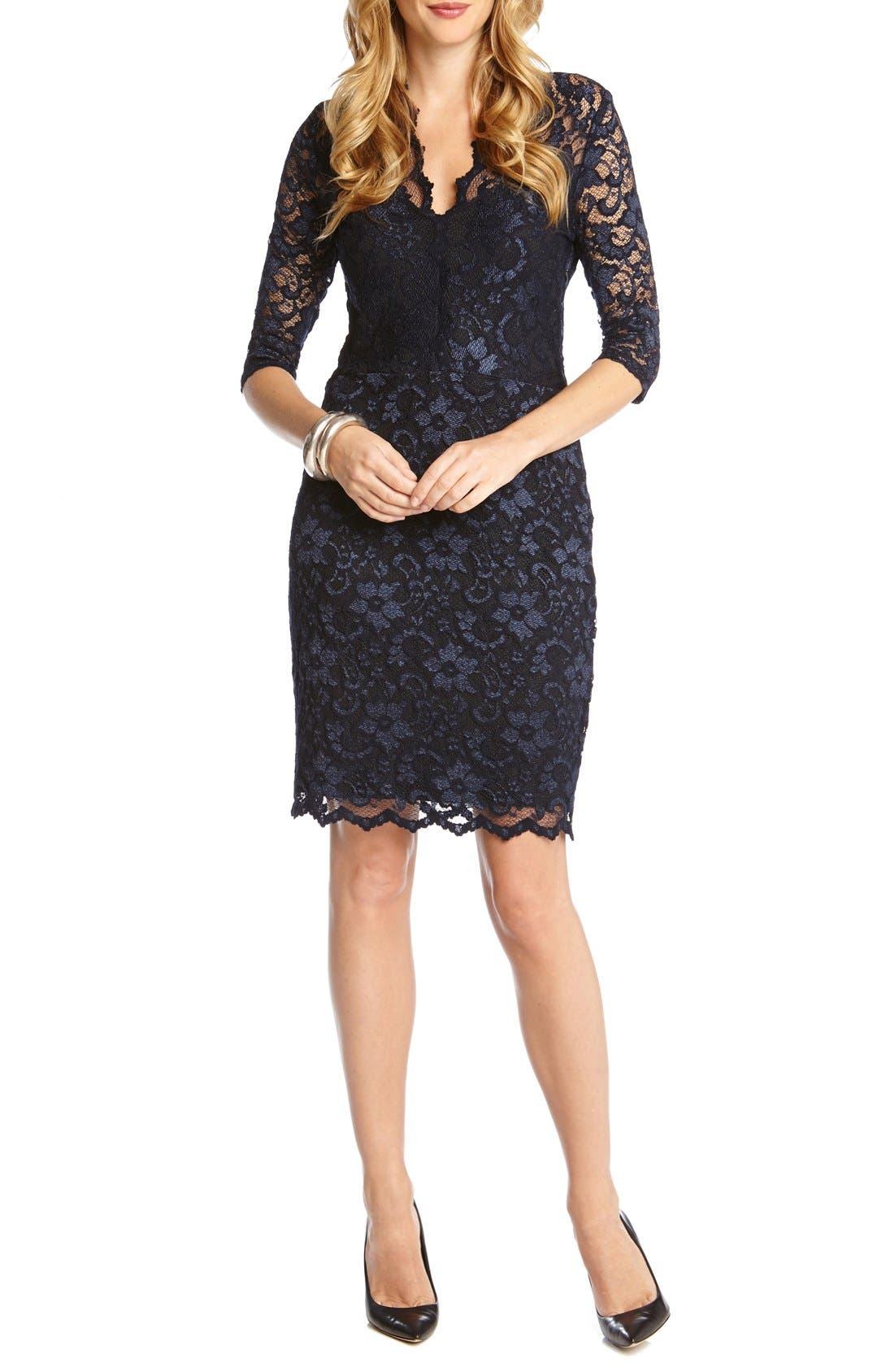 Main Image - Karen Kane Scalloped Lace Sheath Dress (Regular & Petite)