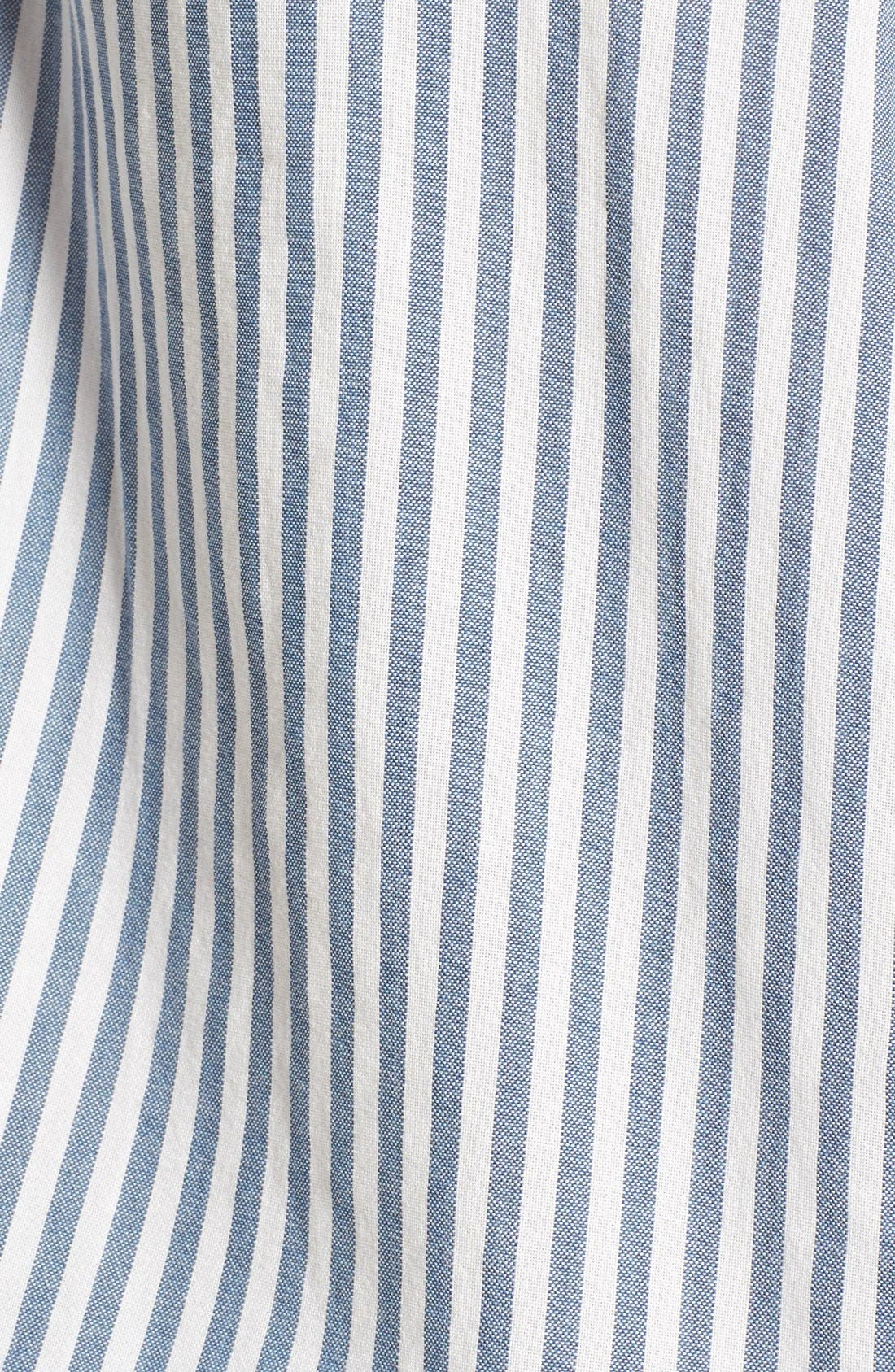 'Central' Stripe Cotton Shirt,                             Alternate thumbnail 5, color,                             Chambray Stripe
