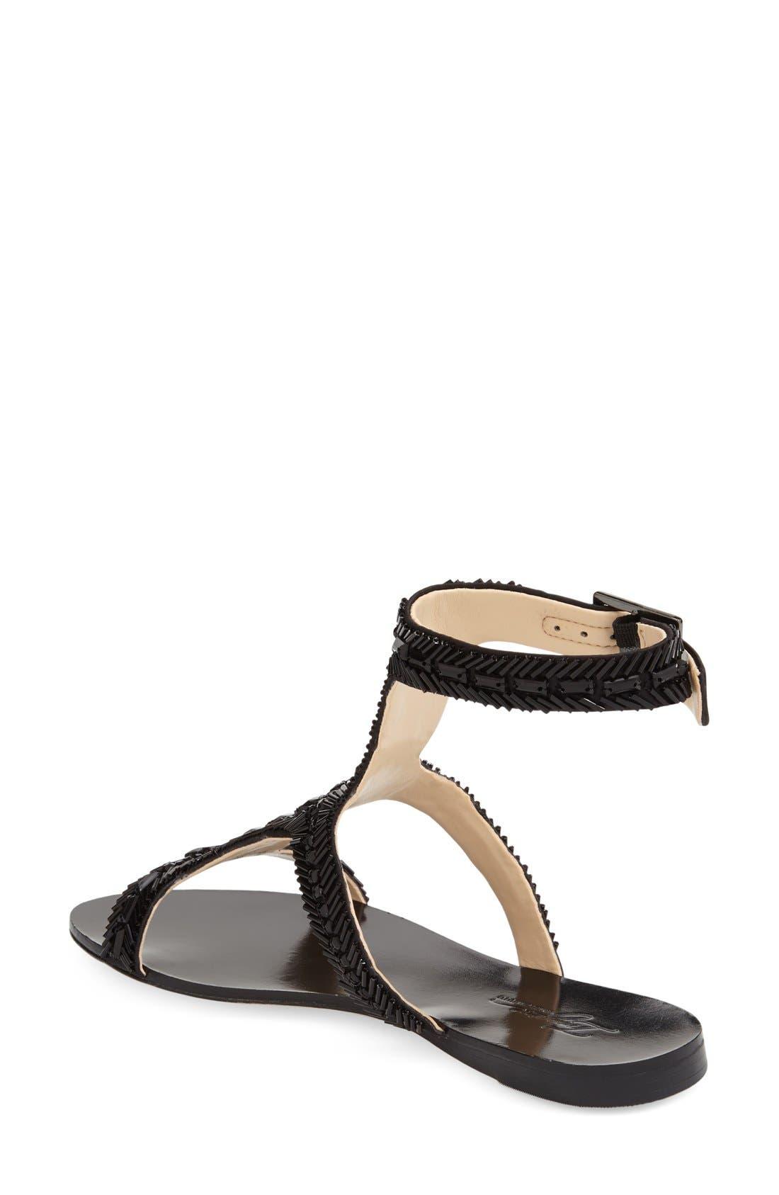 Imagine Vince Camuto 'Reid' Embellished T-Strap Flat Sandal,                             Alternate thumbnail 2, color,                             Black