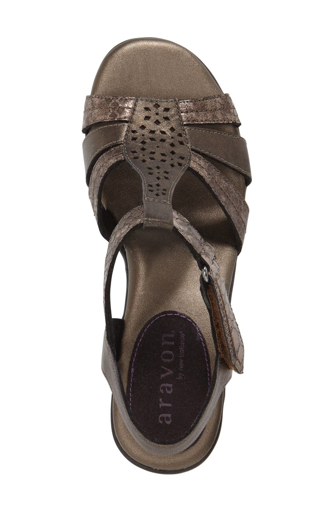 'Mary' T-Strap Sandal,                             Alternate thumbnail 3, color,                             Grey Leather