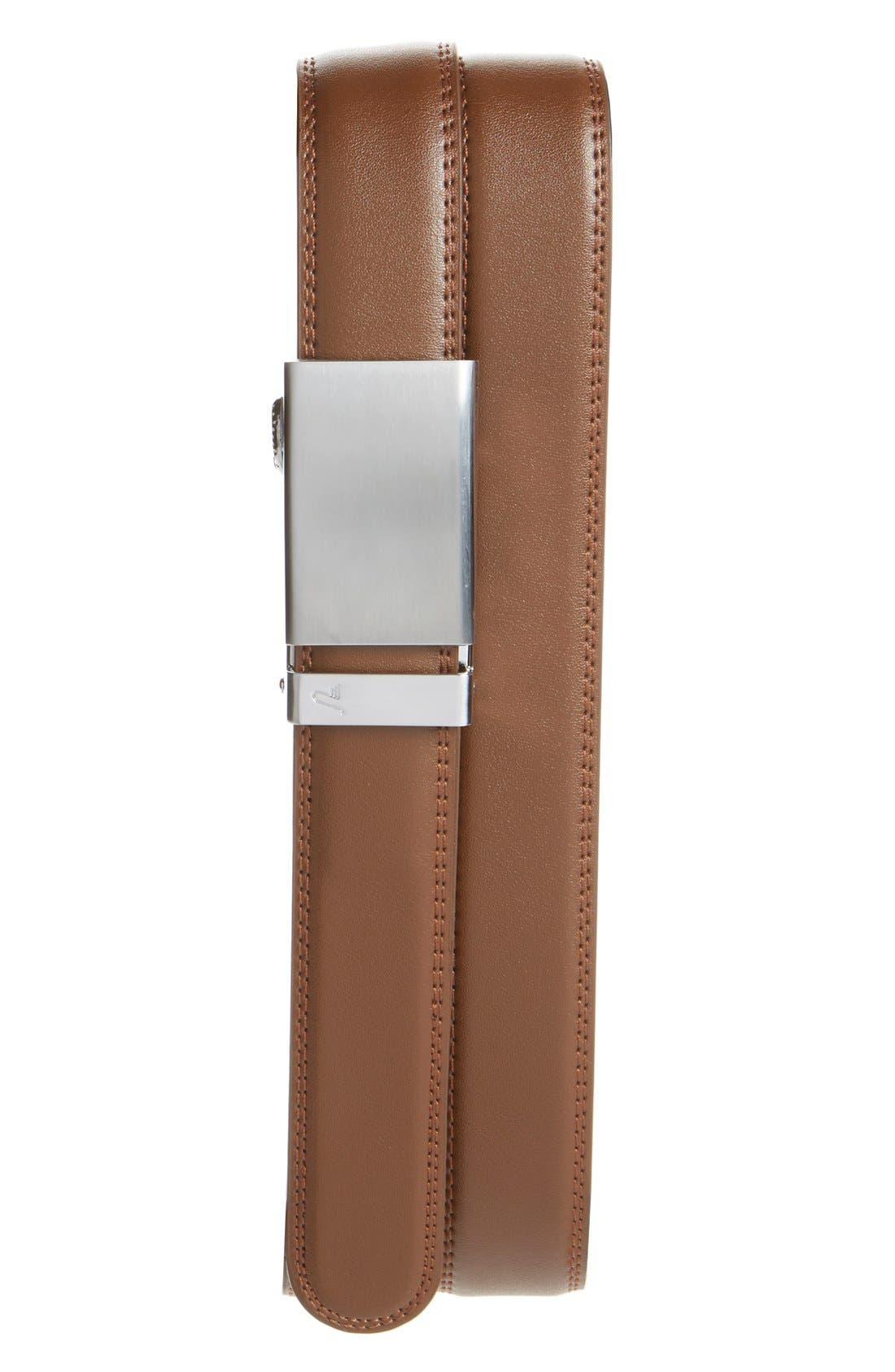 'Cocoa' Leather Belt,                         Main,                         color, Alloy/ Mocha
