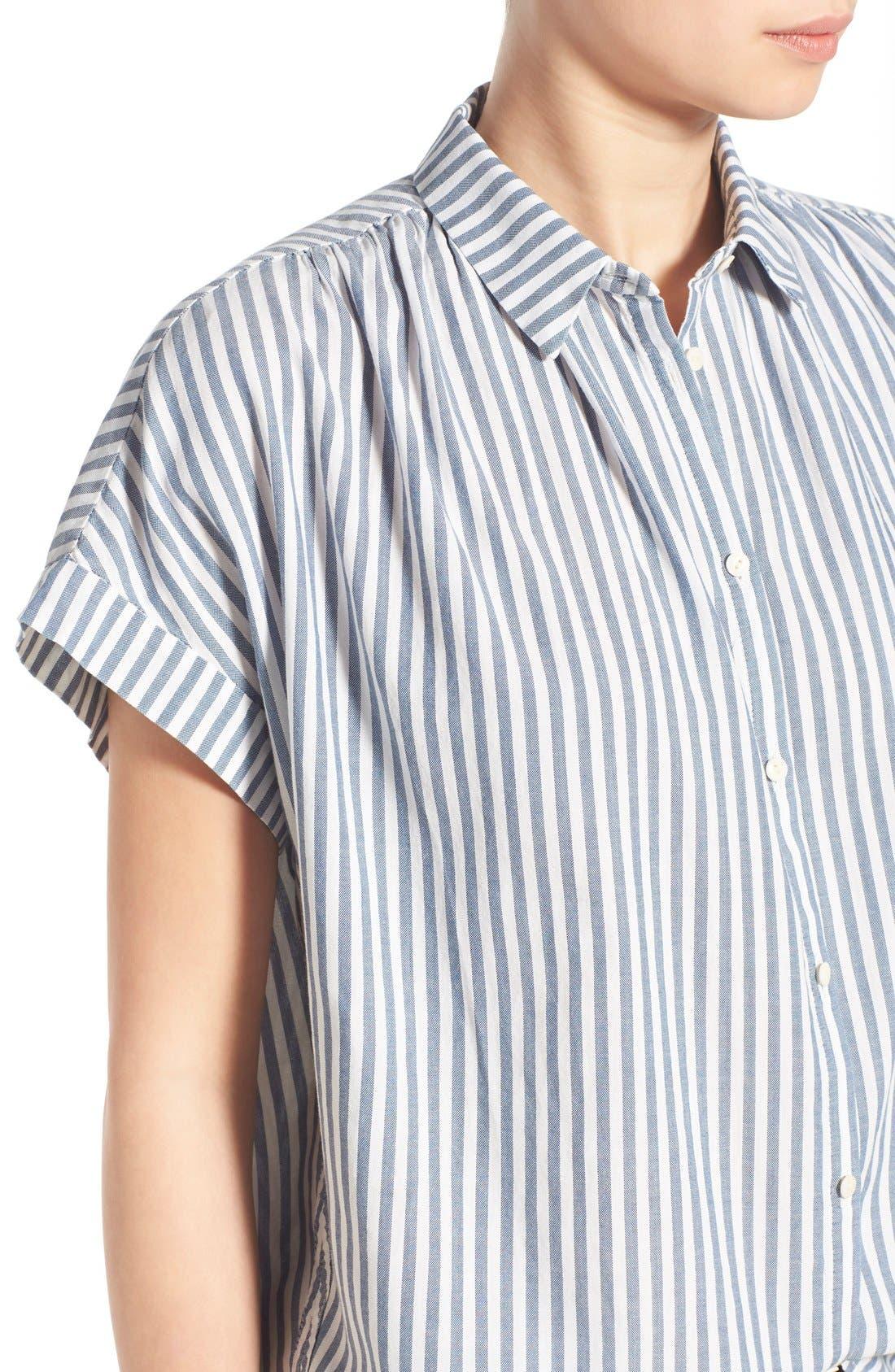 'Central' Stripe Cotton Shirt,                             Alternate thumbnail 4, color,                             Chambray Stripe