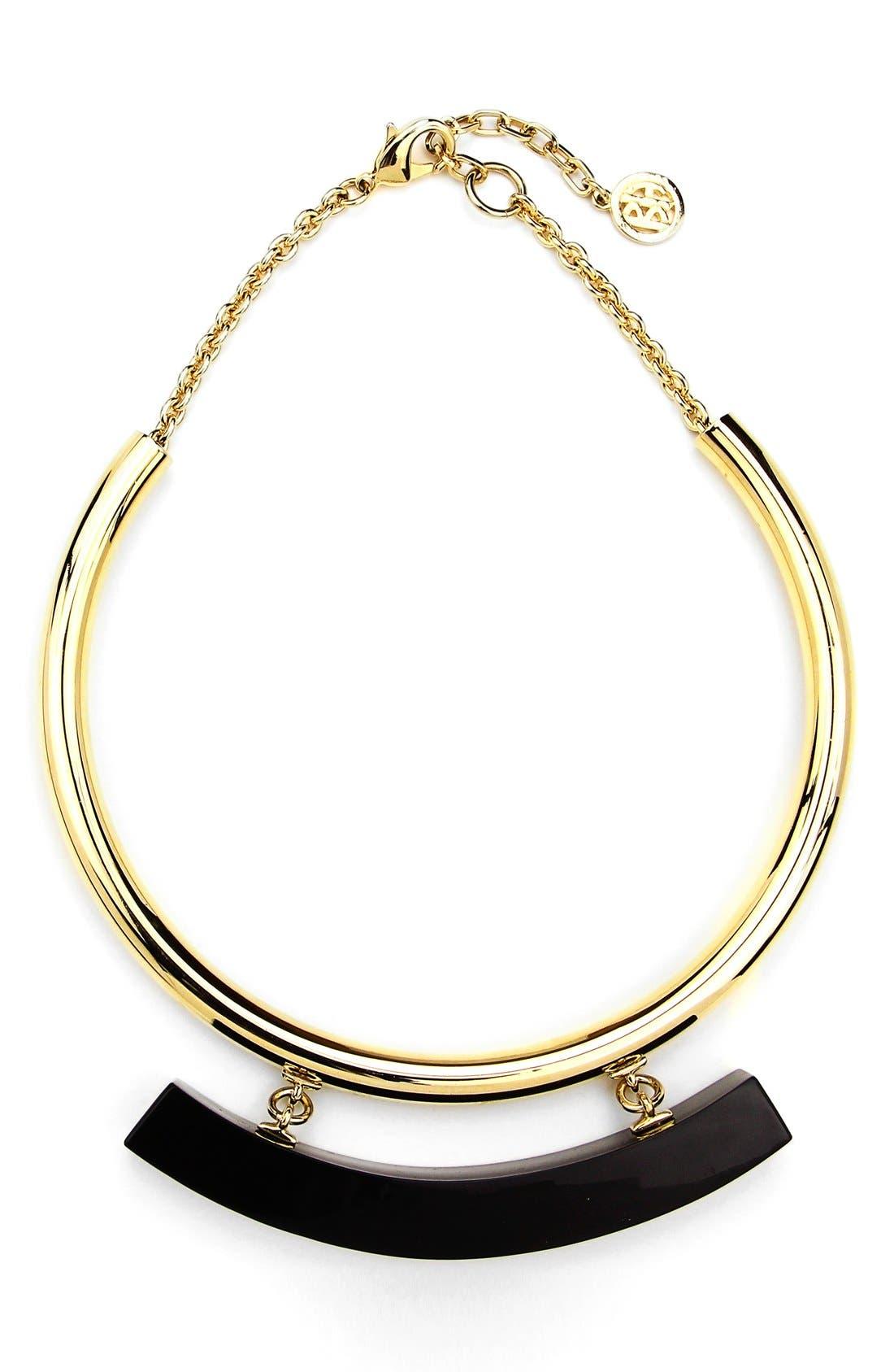 Collar Necklace,                         Main,                         color, Gold/ Black