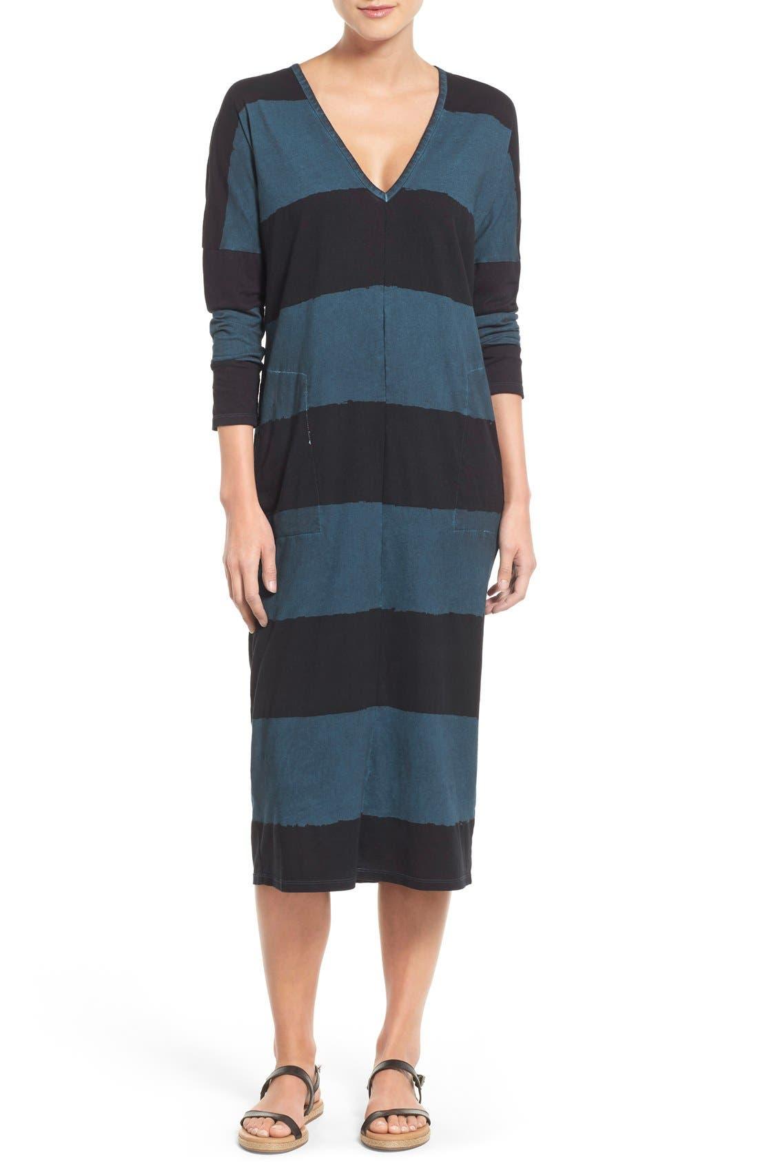 Main Image - Lucky Brand Dyed Stripe Cotton Knit Midi Dress