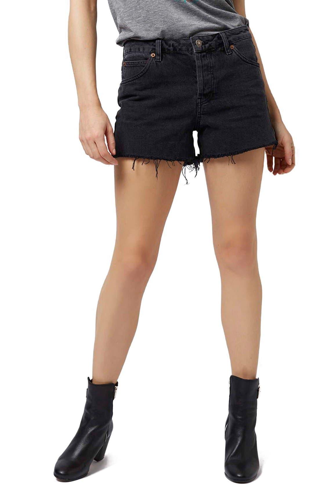 Main Image - Topshop 'Ashley' Black Denim Cutoff Shorts
