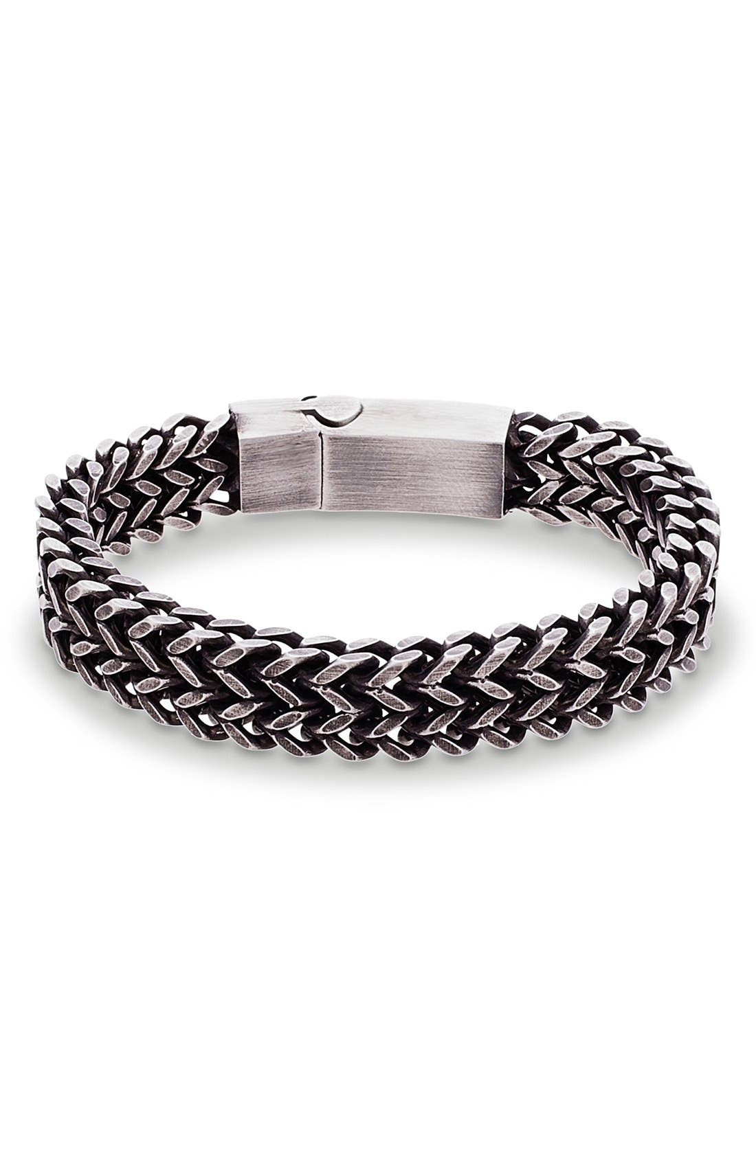 Double Franco Chain Bracelet,                         Main,                         color, Burnished Silver