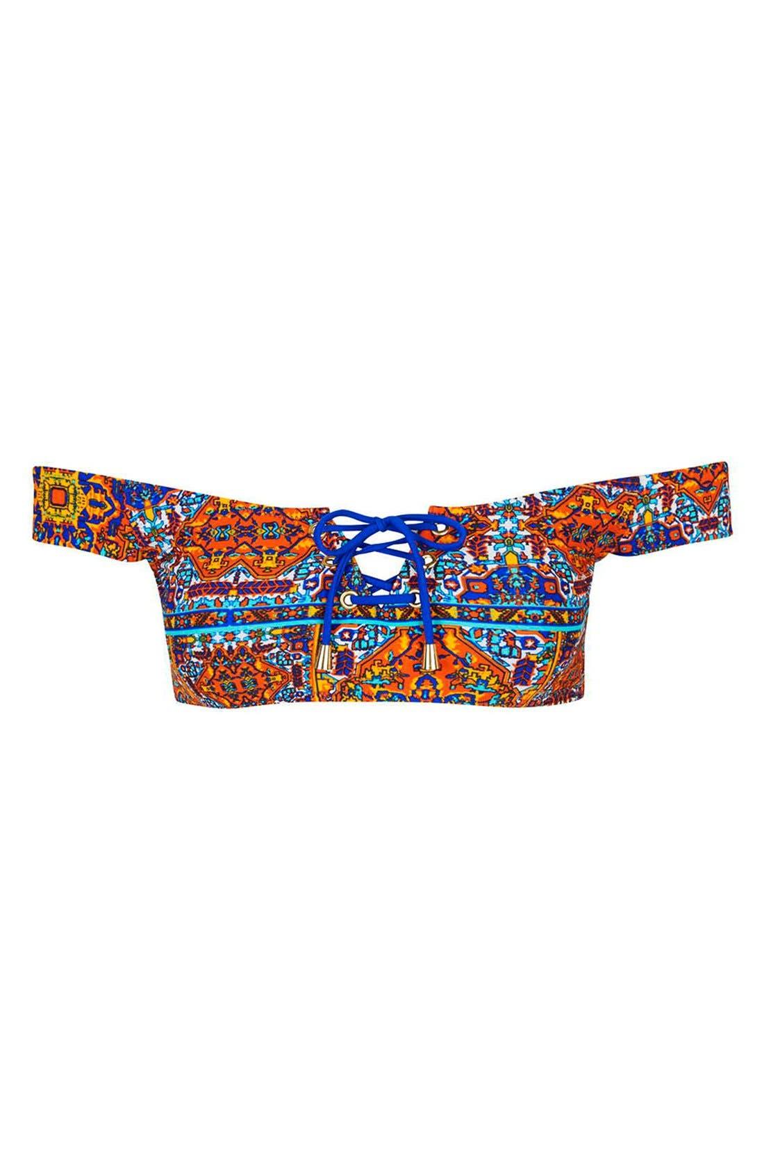Alternate Image 4  - Topshop 'Festival Tile' Bardot Bikini Top