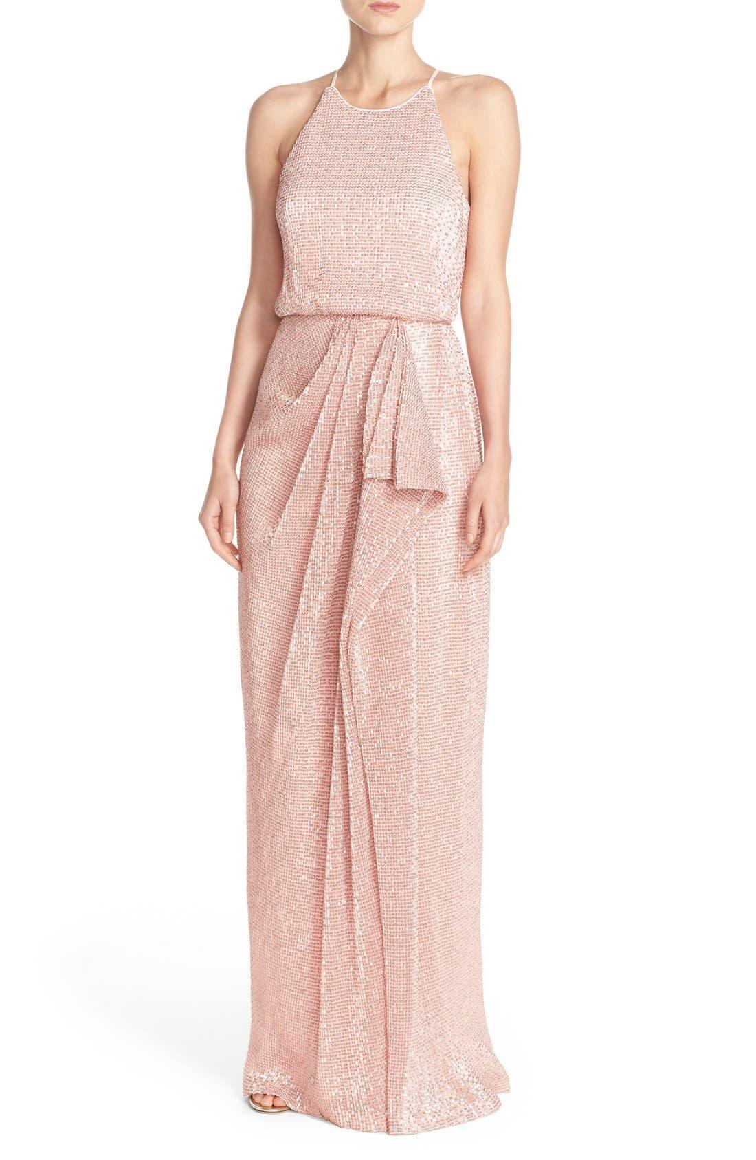 Main Image - Badgley Mischka Sequin Mesh Blouson Gown