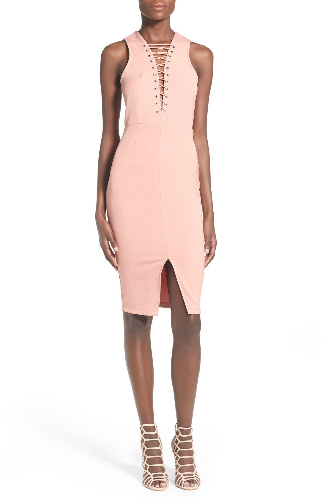 Main Image - Missguided Lace-Up Body-Con Dress