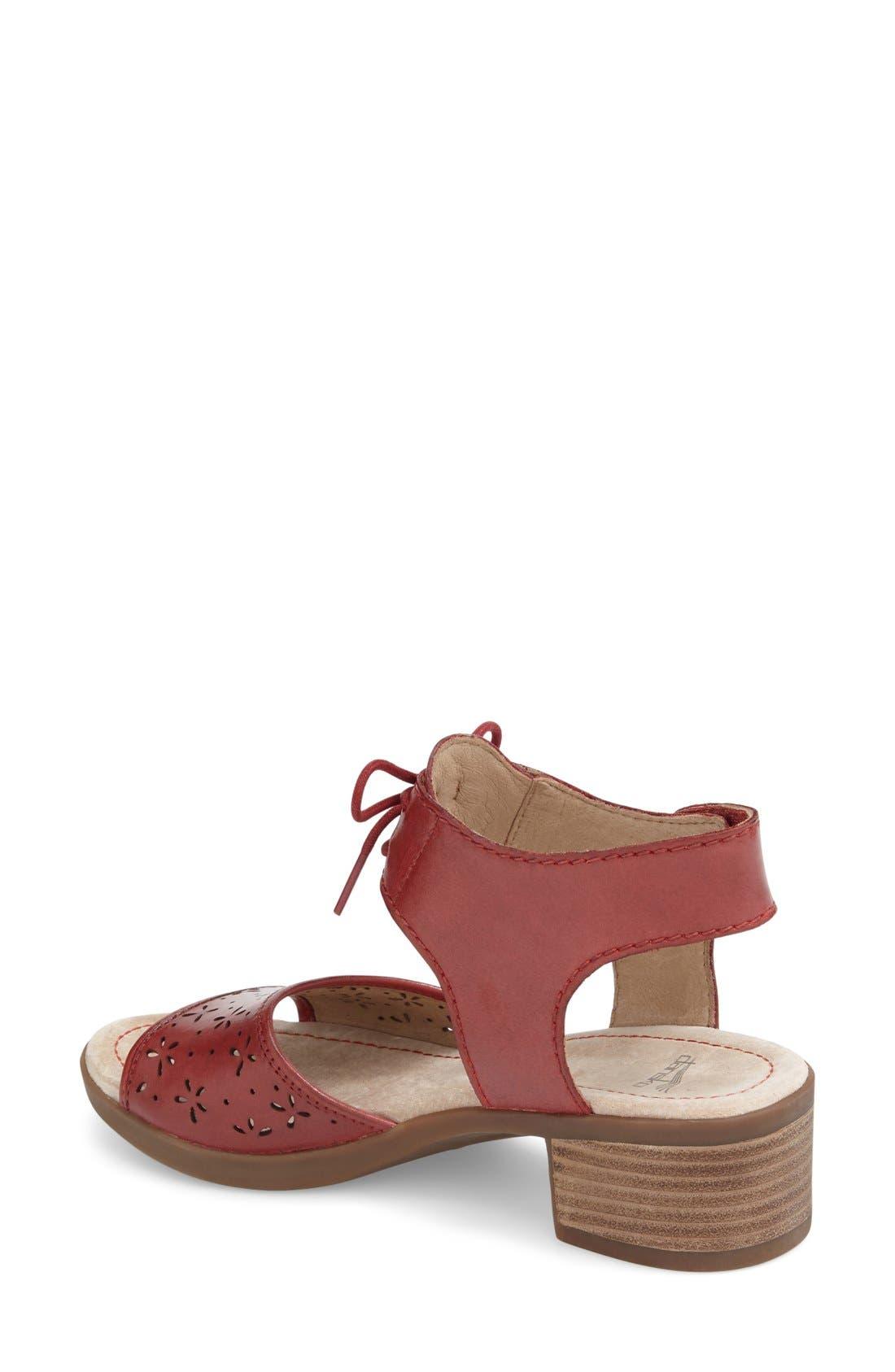 'Liz' Lace-Up Block Heel Sandal,                             Alternate thumbnail 2, color,                             Red Antiqued Leather