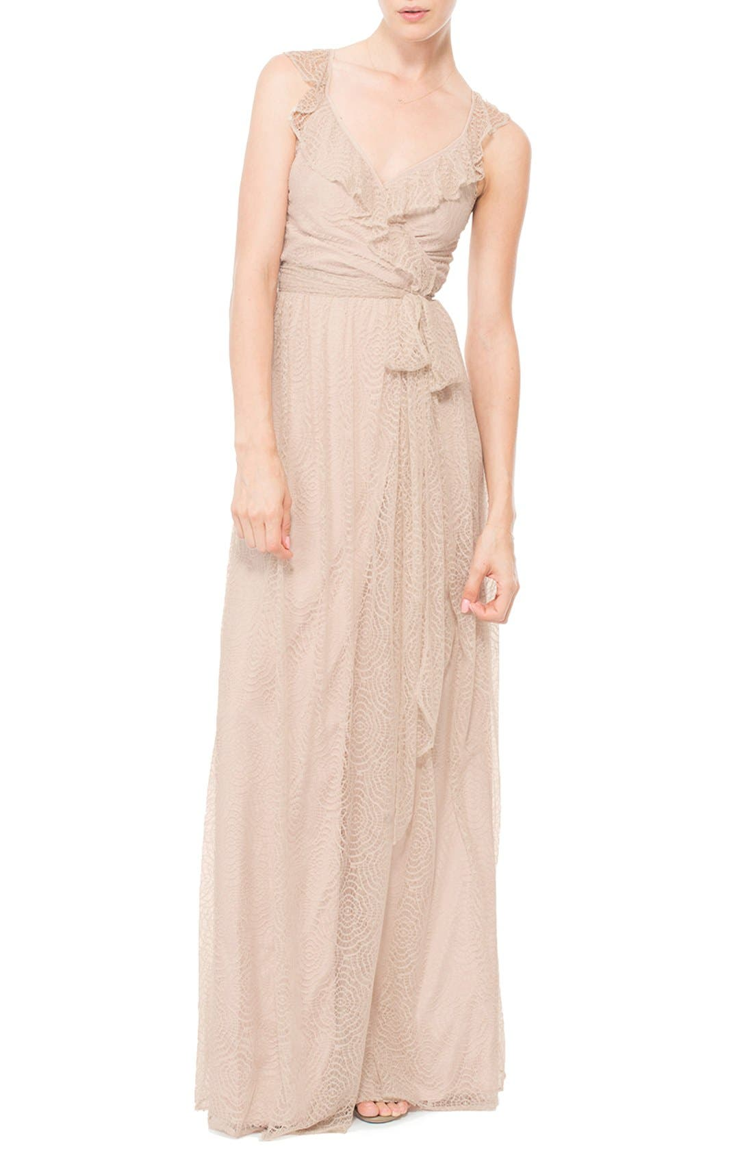Main Image - Ceremony by Joanna August 'Lacey' Ruffle Wrap Lace Dress