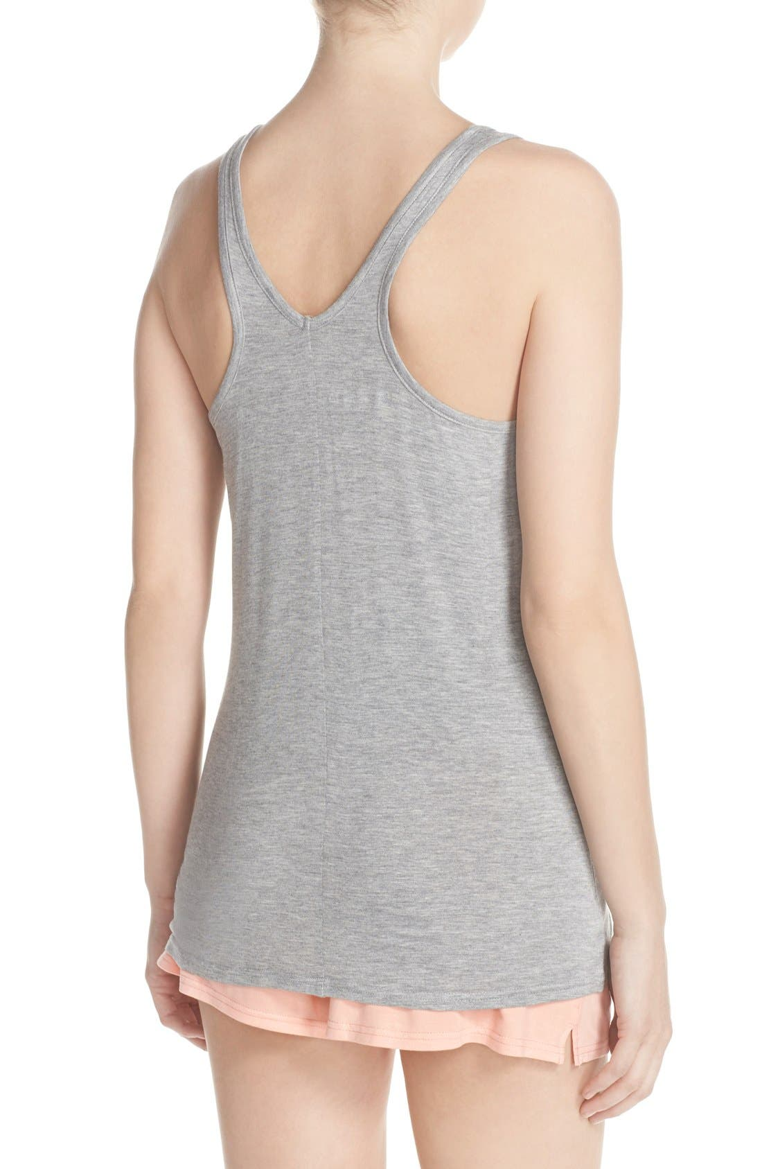 Knotted Tank & Pajama Shorts,                             Alternate thumbnail 2, color,                             Light Grey/ Peach
