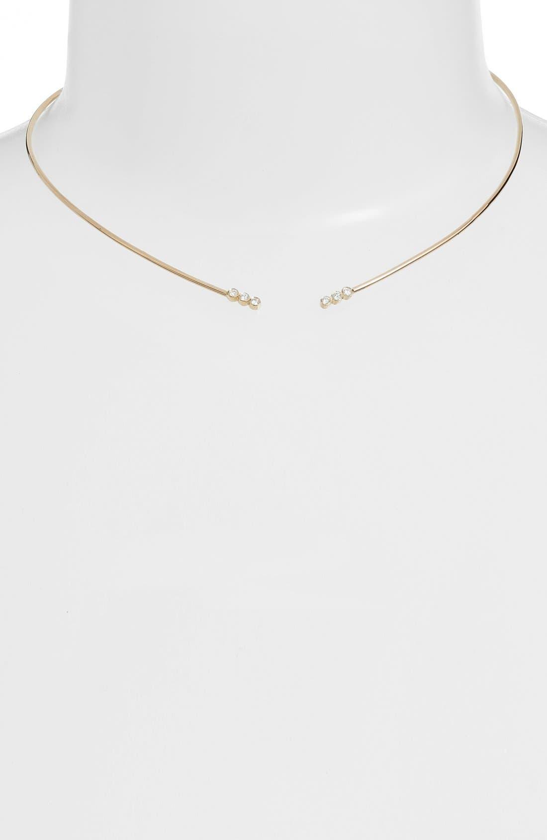Diamond Collar Necklace,                             Alternate thumbnail 2, color,                             Yellow Gold