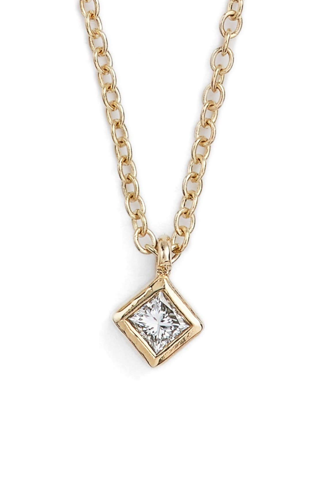ZOË CHICCO Princess Diamond Pendant Necklace