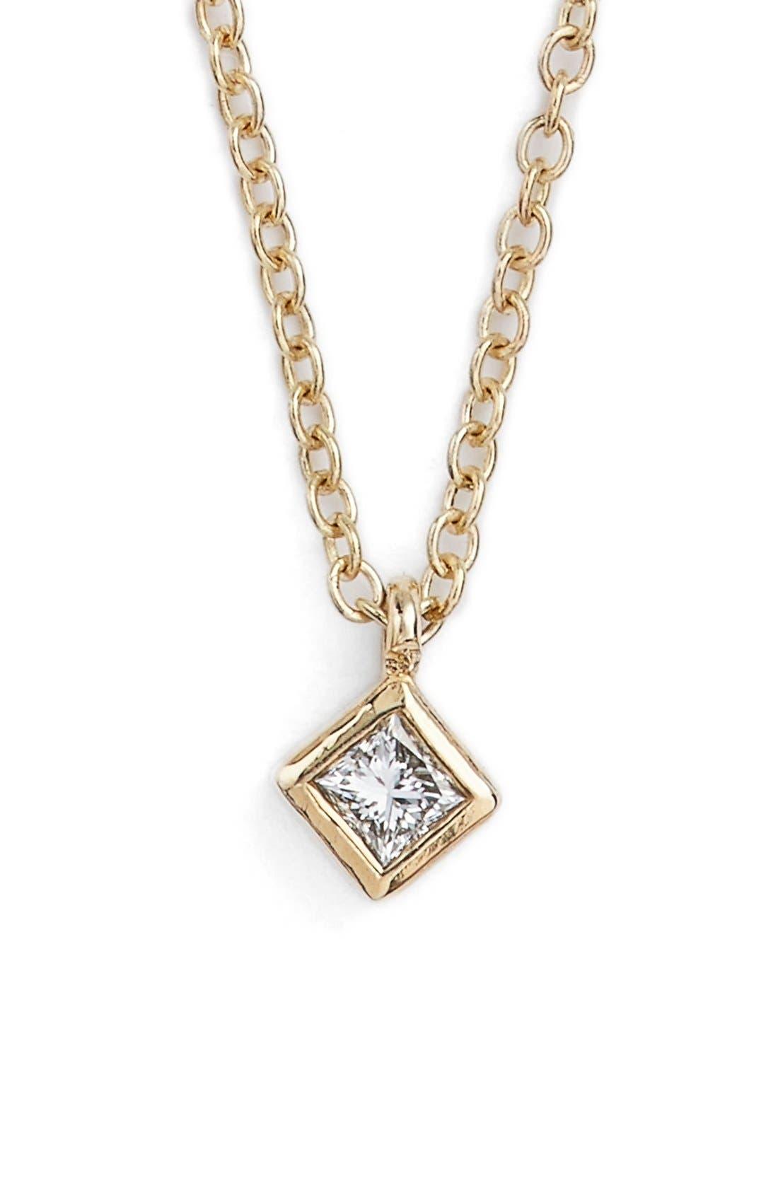 Princess Diamond Pendant Necklace,                         Main,                         color, Yellow Gold